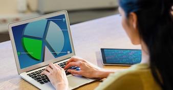 Ekran tech wykres biurko biuro
