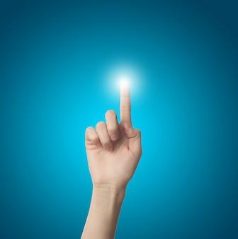 Finger dotykania światło