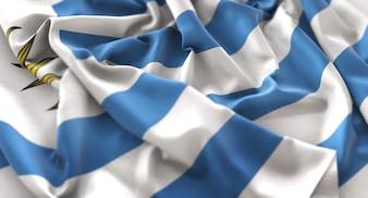 Flaga Urugwaju Ruffled Pięknie Macha Makro Close-Up Shot