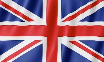 Flaga Wielkiej Brytanii. Ilustracja brytyjski macha flagą Wielkiej Brytanii.