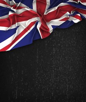 Flagi Wielkiej Brytanii Vintage na Chalkboard Grunge Czarna Z Miejsca Na Tekst
