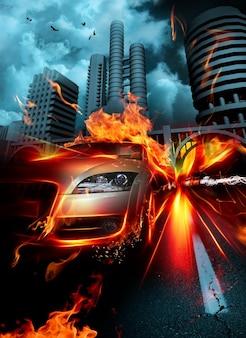 Jazdy płonącego gorąco tła miejskiego