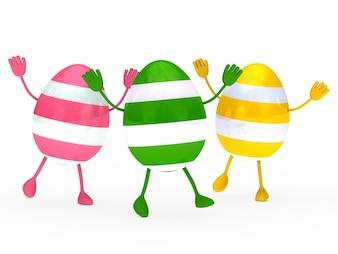 Kolorowe jaja z rąk i stóp
