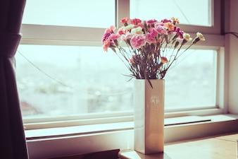 Kryty kwiat na parapecie. Biała wazon, doniczka. Zasłony, tiulu