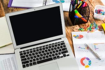 Laptop z wykresów kołowych obok niego i innych papierów