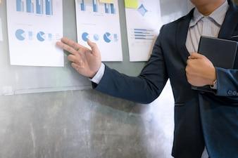 Młody biznesmen w garniturze wyjaśniający wykresy danych na ścianie w biurze.