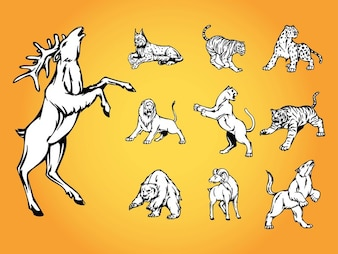 Nature wild animals vector logo