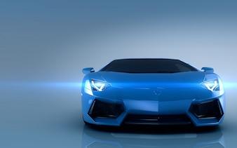 Niebieski samochód sportowy