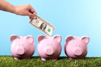 Oszczędność pieniędzy na skarbonka
