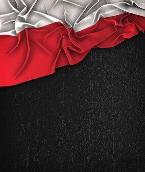 Polska Flag Vintage na Chalkboard Grunge Czarna Z Miejsca Na Tekst