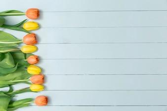Powierzchnia użytkowa z żółtych i pomarańczowych tulipanów