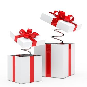 Presents z czerwoną wstążką i sprężyn