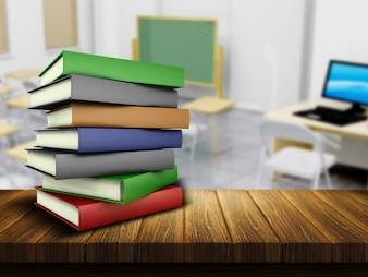 Renderowania 3D z drewnianym stołem i książek z Defocussed klasie w tle