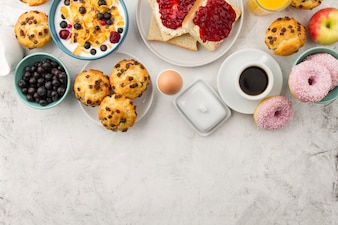 Różne potrawy na śniadanie