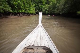 Rozmyte tło głowa drewnianej łodzi poruszających się na kanał w namorzynowym lesie.
