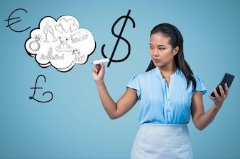 Rysunek Kobieta w dolara symboli powietrza