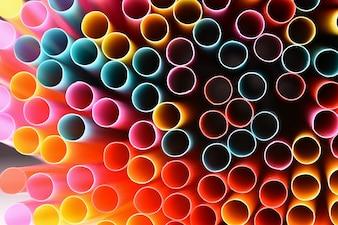 Słomki do picia. Makro abstrakcyjny obraz z pięknym wielobarwne tło.