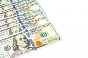 Sto dolarów banknotów na białym tle