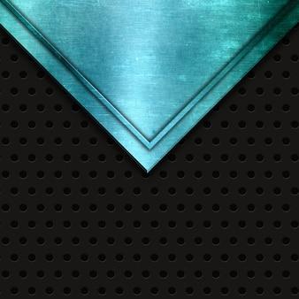 Streszczenie niebieskie metaliczne tekstury na perforowanym tle metalu