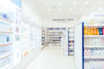 Streszczenie rozmycie i defocused apteki i sklepu leków