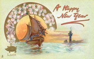 Szczęśliwego nowego roku circa karta