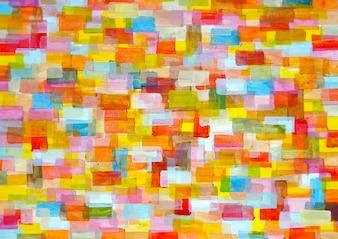 Tło. Wielokolorowe złożone prostokąty zaokrąglone. Obraz malarstwa artystycznego w malarstwie akrylowym na tekturze.