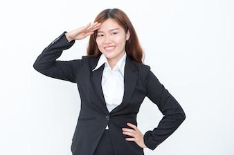 Uśmiechnięta Asian Business Woman Saluting