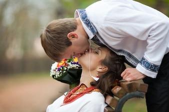 Ukraiński łagodny uśmiech jesień uroczystości