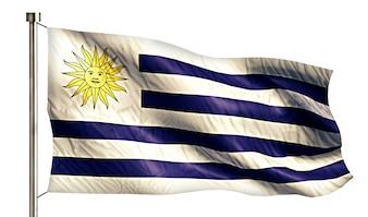 Urugwaj Flaga Narodowa Pojedyncze 3D Białe Tło