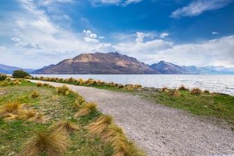 Widok na jezioro Nowa Zelandia Queenstown