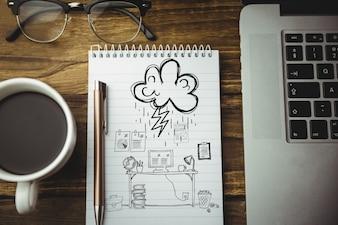 Widok z góry na rysunku w miejscu pracy