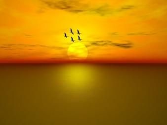 woda latający morze zachód słońca, niebo, ocean chmury gęsi