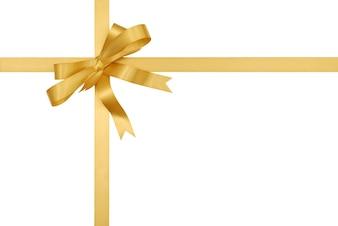 Złota wstążka prezent i łuk