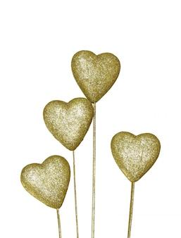 Złoty serce dekoracji samodzielnie na białym tle
