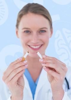 Zagniewany ramię komunikacji bicie serca papierosów