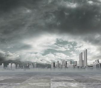 Zanieczyszczonym miastem w tle