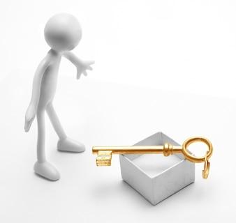 Zaskoczony figura patrząc na klucz