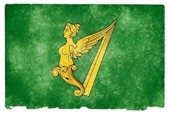 Zielony harfa Irlandii grunge flaga