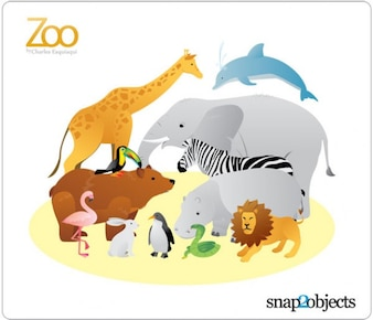 12 Vectores Zoo Animal