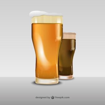 3D vasos de cerveza vector