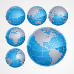 3D Blue World Globe