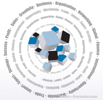 3d cajas de colores con palabras de negocios