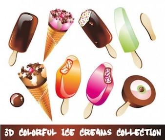 3d colorido ice cream vector