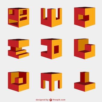 Conjunto de elementos de diseño en 3D