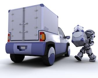 3d render de robot cargando cajas en una furgoneta