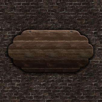 3d render de signo de madera vieja en pared de ladrillo