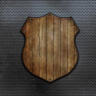 3d render de un escudo de madera sobre un fondo de metal perforado