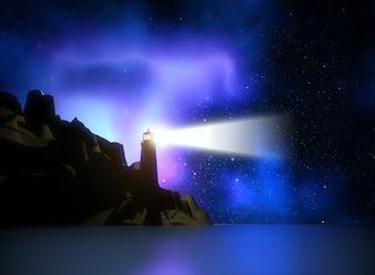 3d render de un faro contra un cielo de espacio