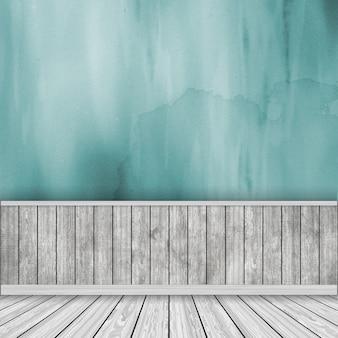 3d render de un interior de habitación con pared de acuarela y suelo de madera
