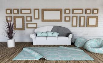 3d render de un interior de habitación con una colección de marcos en blanco en la pared